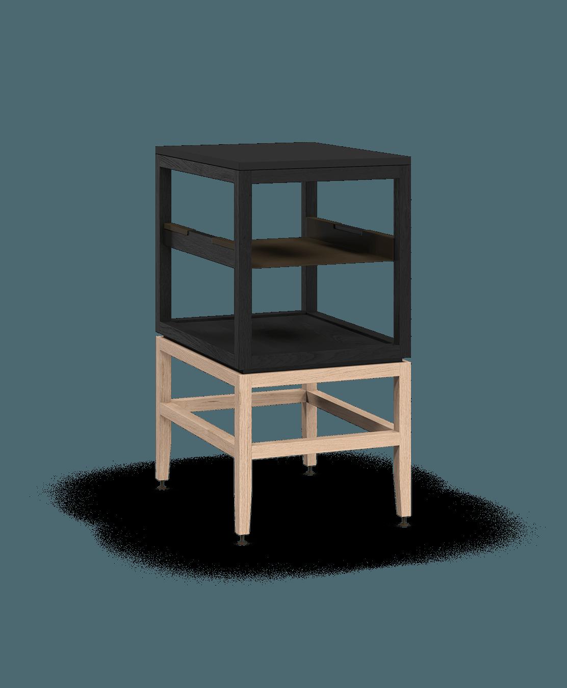 armoire ouverte modulaire de rangement en bois massif coquo volitare avec cube 1 tablette chêne teint noir nuit profonde chêne blanc 18 pouces C2-N-1824-0011-BK-NA