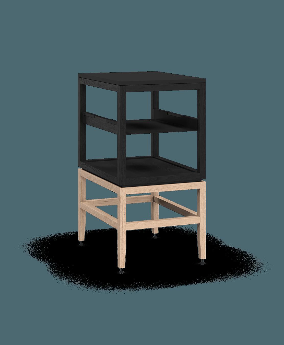 armoire ouverte modulaire de rangement en bois massif coquo volitare avec cube 1 tablette chêne teint noir nuit profonde chêne blanc 18 pouces C2-N-1824-0012-BK-NA