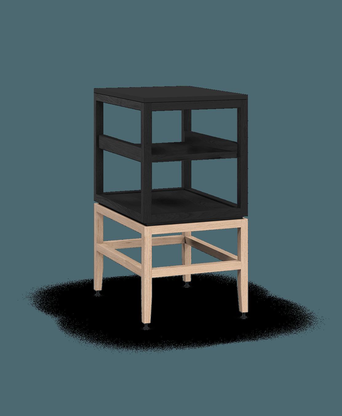 armoire ouverte modulaire de rangement en bois massif coquo volitare avec cube 1 tablette chêne teint noir nuit profonde chêne blanc 18 pouces C2-N-1824-001W2-BK-NA