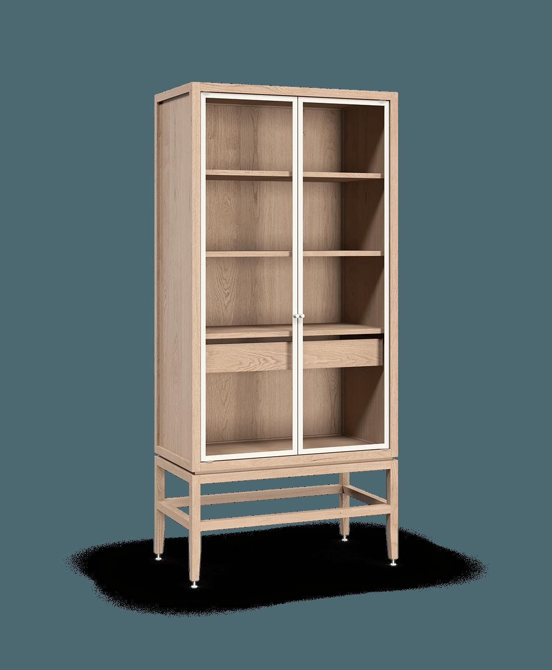 armoire vaisselier vitré modulaire de rangement en bois massif coquo volitare avec 2 portes verre chêne blanc 33 pouces C2-D-3318-1203-NA
