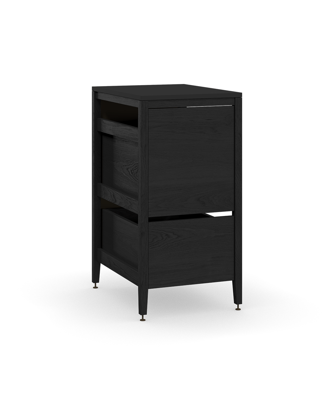 coquo radix midnight black stained oak solid wood modular 1 drawer 2 bins trash base kitchen cabinet 18 inch C1-CTR-18TB-2001-BK