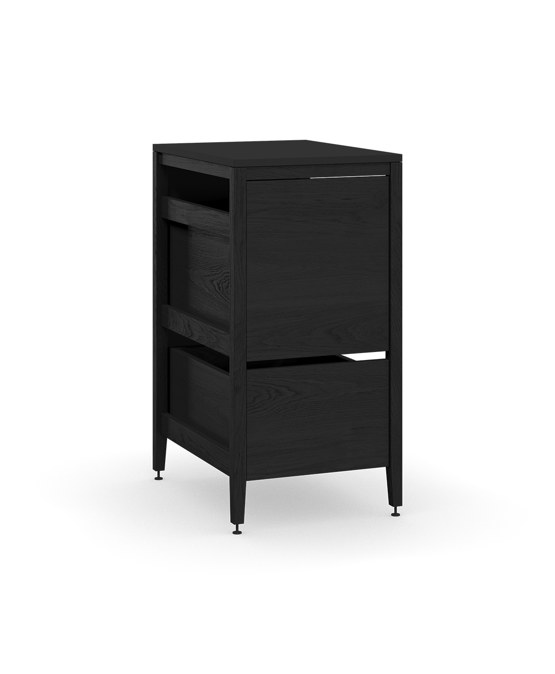 coquo radix midnight black stained oak solid wood modular 1 drawer 2 bins trash base kitchen cabinet 18 inch C1-CTR-18TB-2002-BK