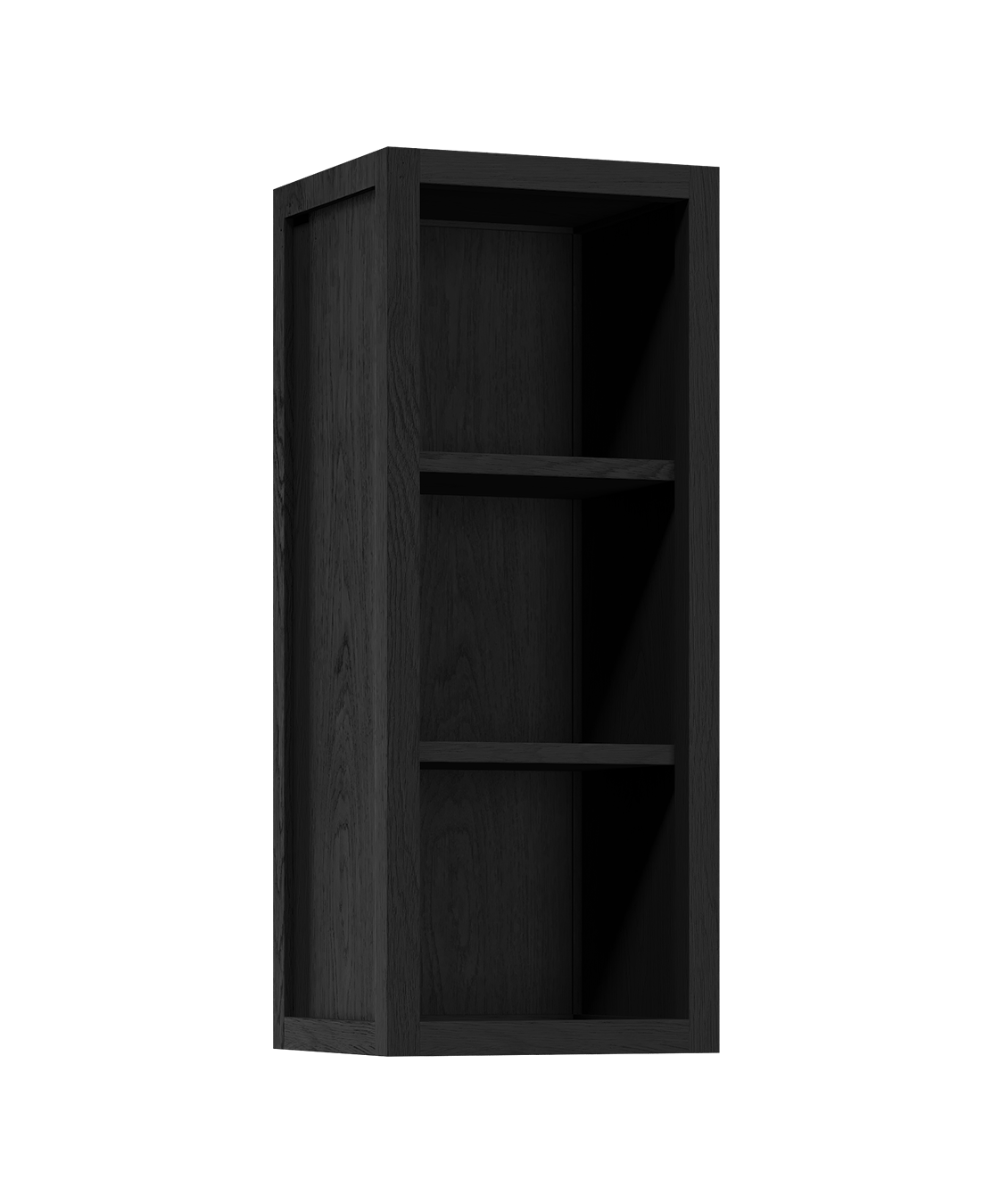coquo radix midnight black stained oak solid wood modular 2 glass doors open wall upper kitchen cabinet 12 inch C1-W-1212-0000-BK