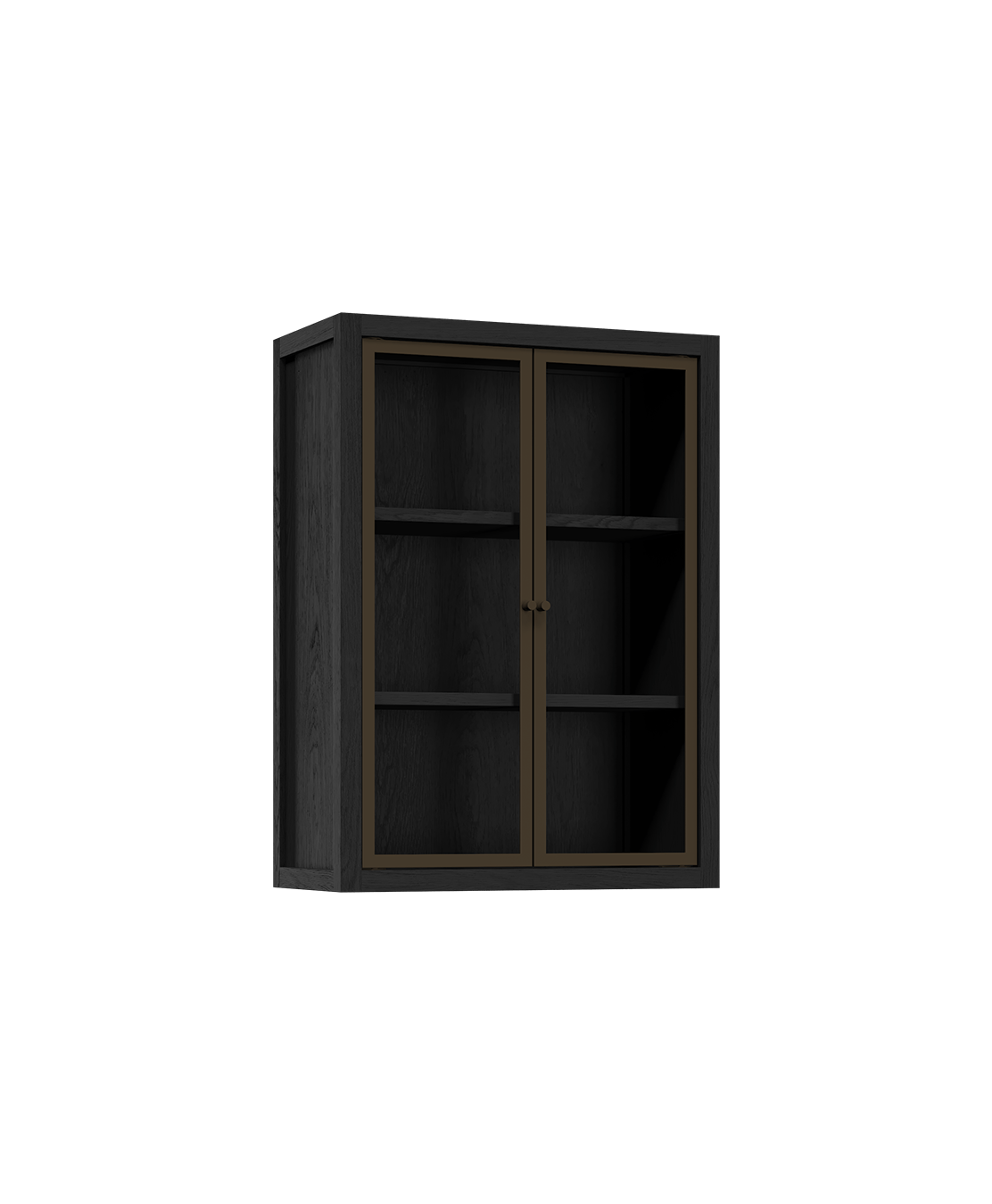coquo radix midnight black stained oak solid wood modular 2 glass doors wall upper kitchen cabinet 12 inch C1-W-2412-0201-BK