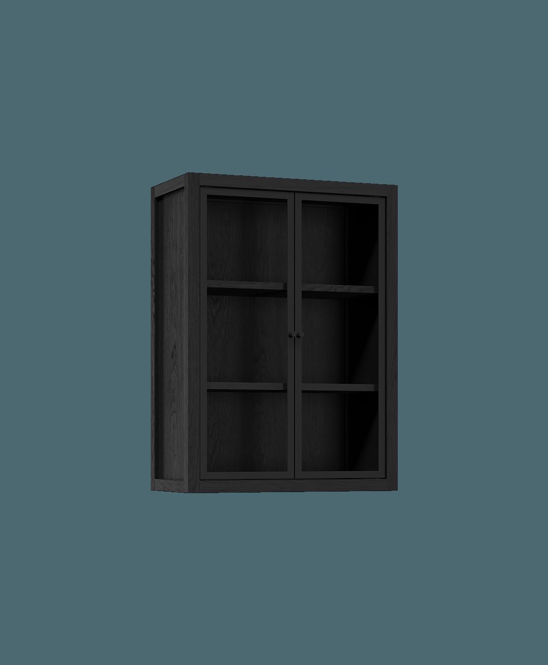 coquo radix midnight black stained oak solid wood modular 2 glass doors wall upper kitchen cabinet 12 inch C1-W-2412-0202-BK
