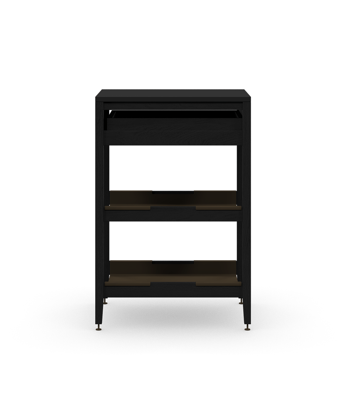 coquo radix midnight black stained oak solid wood modular 2 shelves 1 drawer base kitchen cabinet 18 inch C1-C-18SB-1021-BK