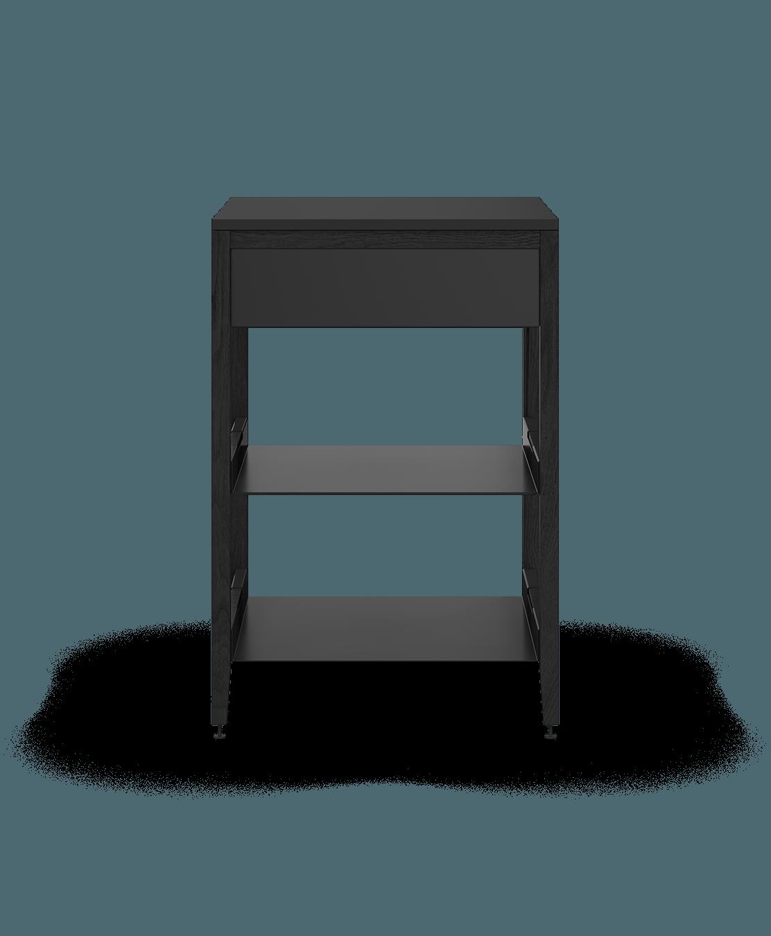 coquo radix midnight black stained oak solid wood modular 2 shelves 1 drawer base kitchen cabinet 24 inch C1-C-24SB-1022-BK