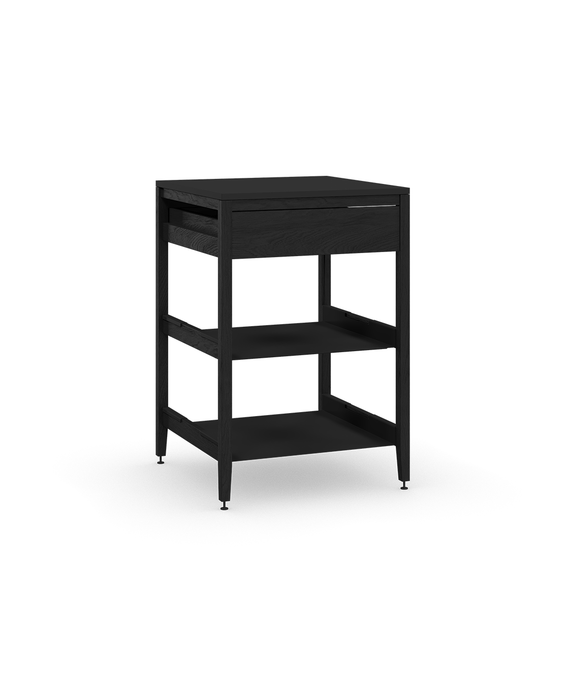 coquo radix midnight black stained oak solid wood modular 2 shelves 1 drawer base kitchen cabinet 24 inch C1-C-24SB-1022-BK