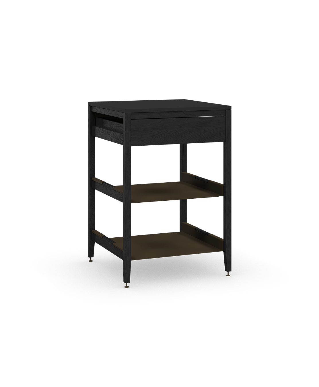 coquo radix midnight black stained oak solid wood modular 2 shelves 1 drawer base kitchen cabinet 27 inch C1-C-27SB-1021-BK