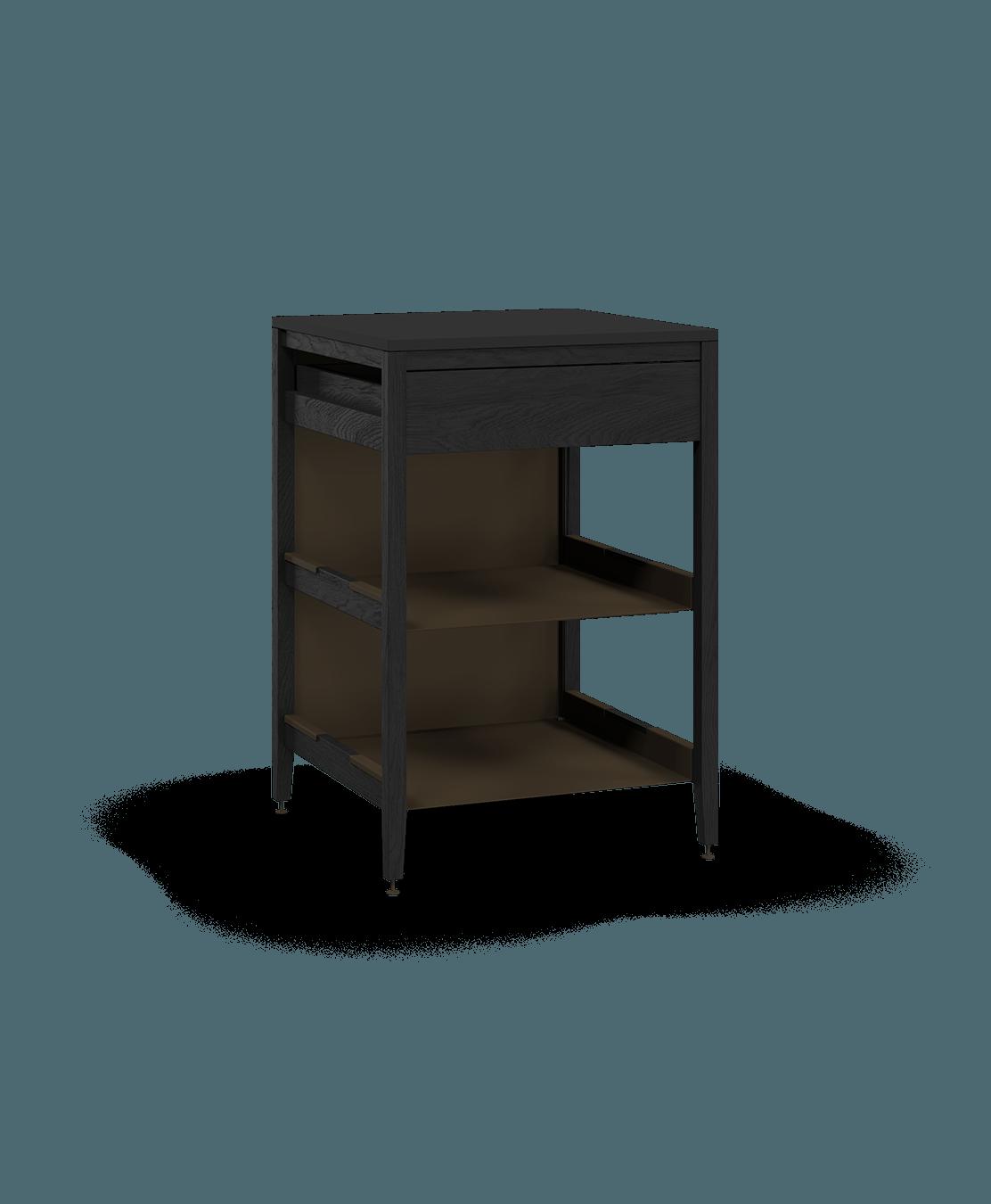 coquo radix midnight black stained oak solid wood modular 2 shelves 1 drawer base kitchen cabinet 27 inch C1-C-27TB-1021-BK