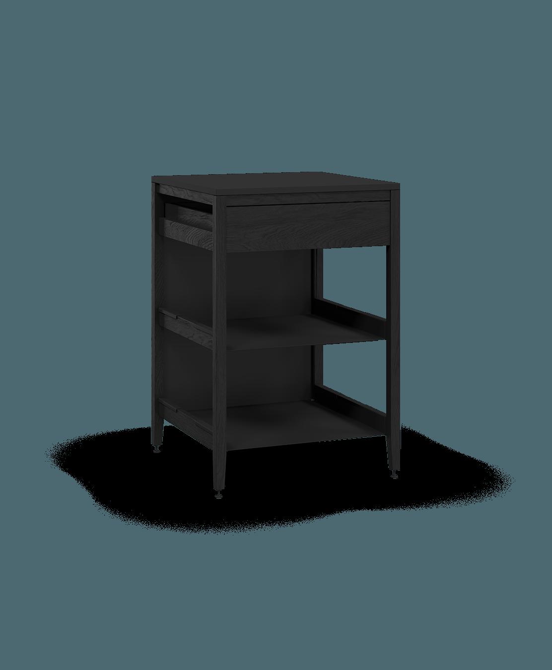 coquo radix midnight black stained oak solid wood modular 2 shelves 1 drawer base kitchen cabinet 27 inch C1-C-27TB-1022-BK