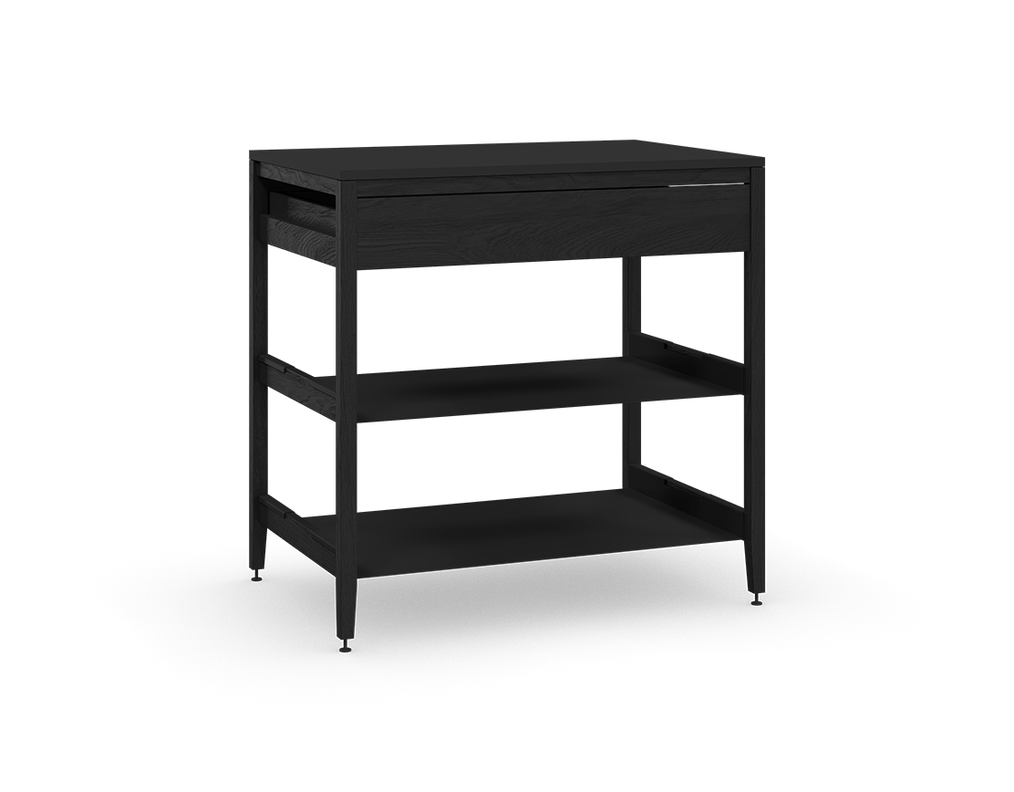 coquo radix midnight black stained oak solid wood modular 2 shelves 1 drawer base kitchen cabinet 36 inch C1-C-36SB-1022-BK