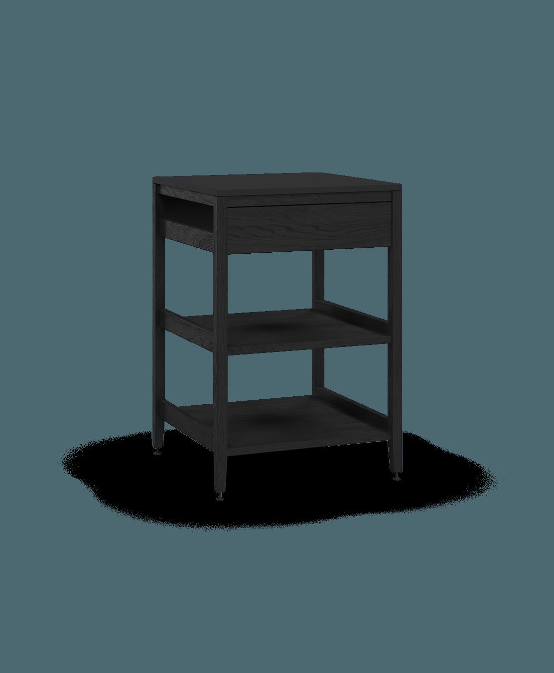 coquo radix midnight black stained oak solid wood modular 2 wood shelves false front base corner kitchen cabinet 24 inch C1-CC-24SBW-002W2-BK