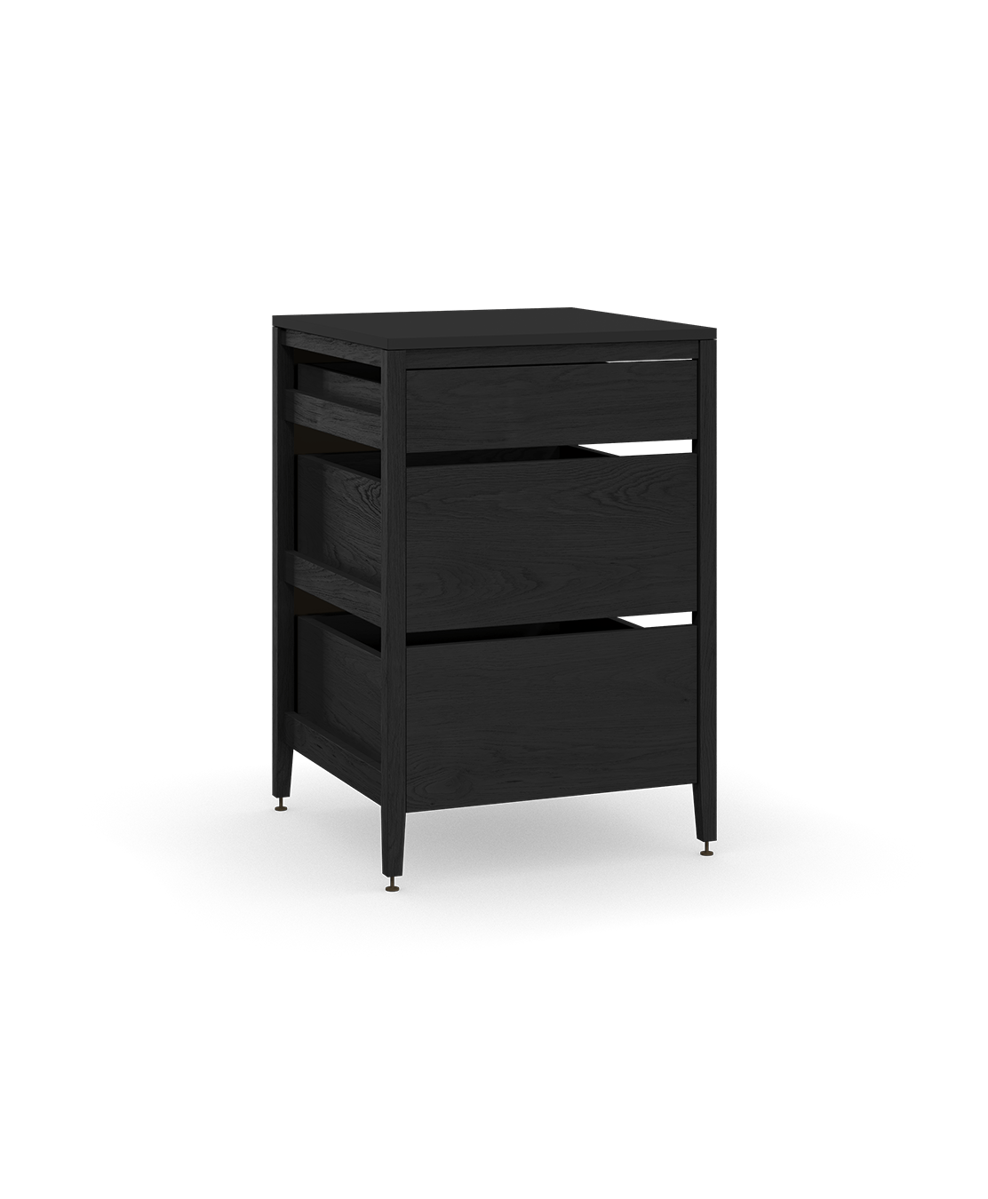 coquo radix midnight black stained oak solid wood modular 3 drawers base kitchen cabinet 24 inch C1-C-24TB-3001-BK
