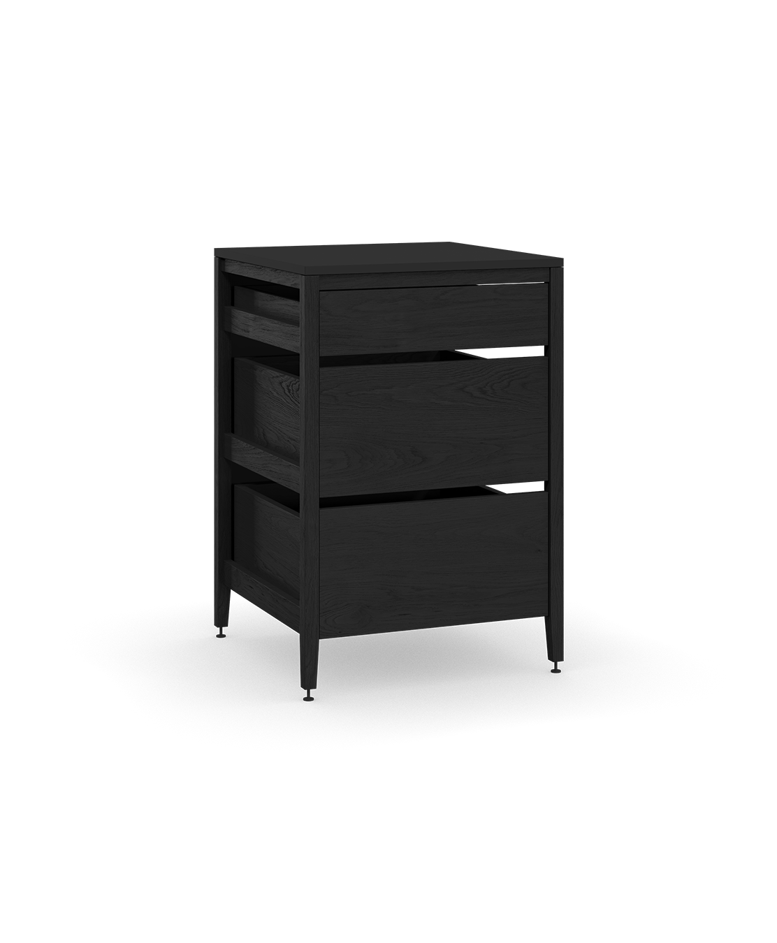 coquo radix midnight black stained oak solid wood modular 3 drawers base kitchen cabinet 27 inch C1-C-27TB-3002-BK