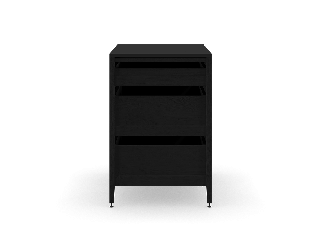 coquo radix midnight black stained oak solid wood modular 3 drawers base kitchen cabinet 36 inch C1-C-36TB-3002-BK