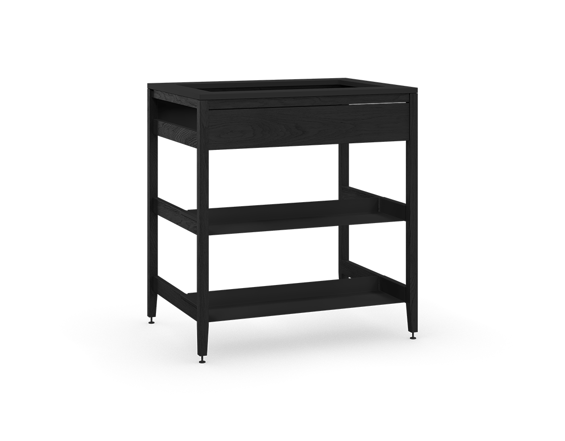 coquo radix midnight black stained oak solid wood modular false front 2 half shelves sink base kitchen cabinet 33 inch C1-CSK-33SB-0042-BK