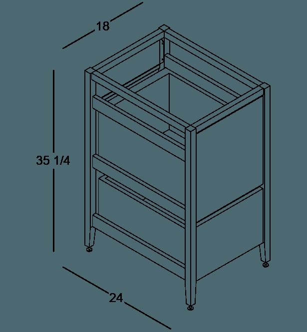 coquo radix white oak solid wood modular 1 drawer 2 bins trash base kitchen cabinet 18 inch C1-CTR-18TB-2001-NA