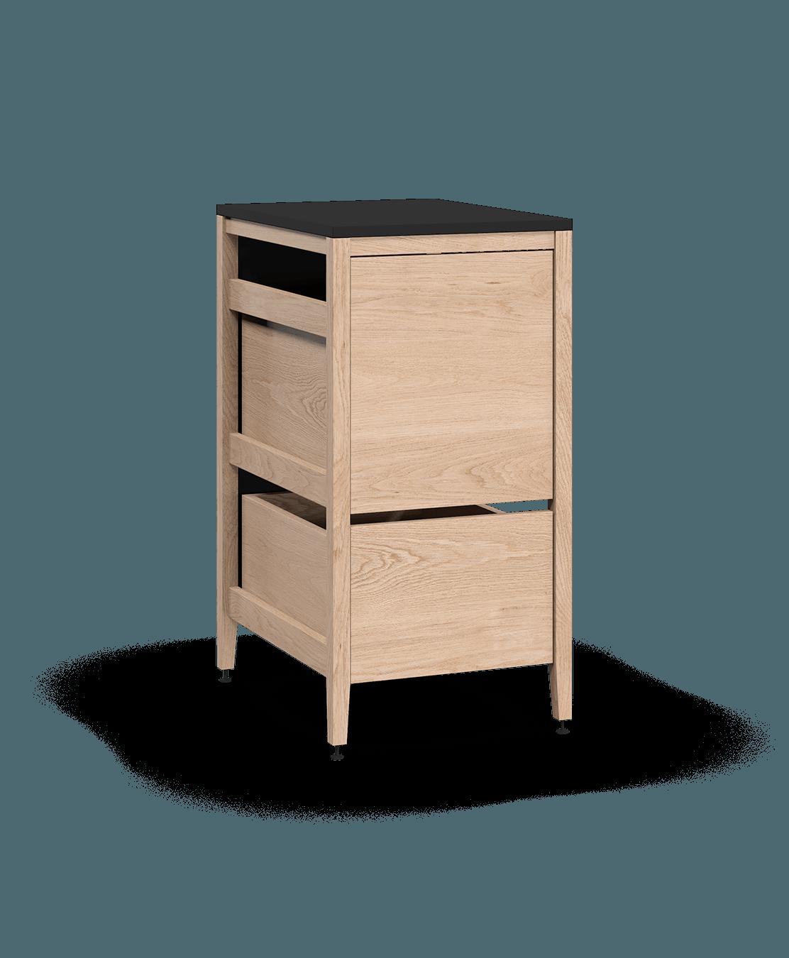 coquo radix white oak solid wood modular 1 drawer 2 bins trash base kitchen cabinet 18 inch C1-CTR-18TB-2002-NA