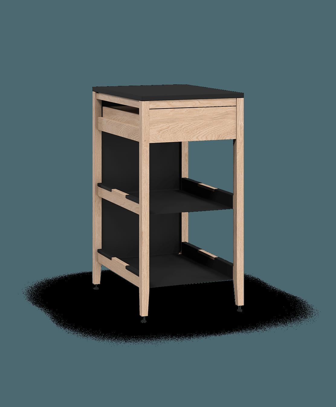 coquo radix white oak solid wood modular 2 shelves 1 drawer base kitchen cabinet 18 inch C1-C-18TB-1022-NA
