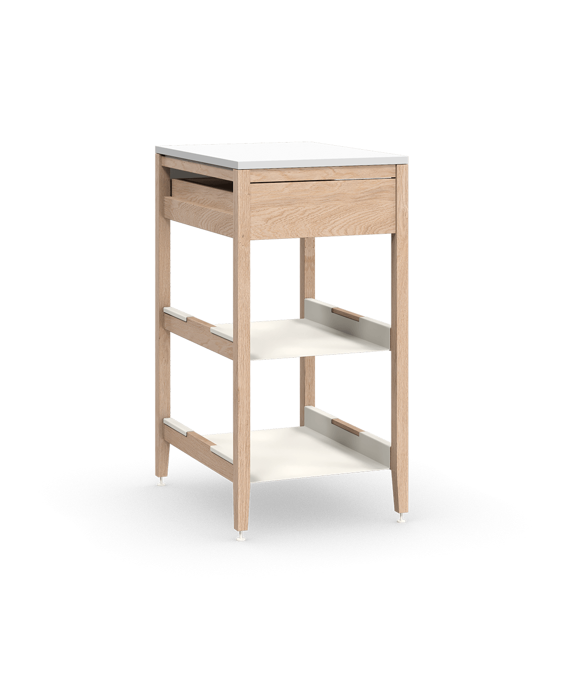 coquo radix white oak solid wood modular 2 shelves 1 drawer base kitchen cabinet 21 inch C1-C-21SB-1023-NA