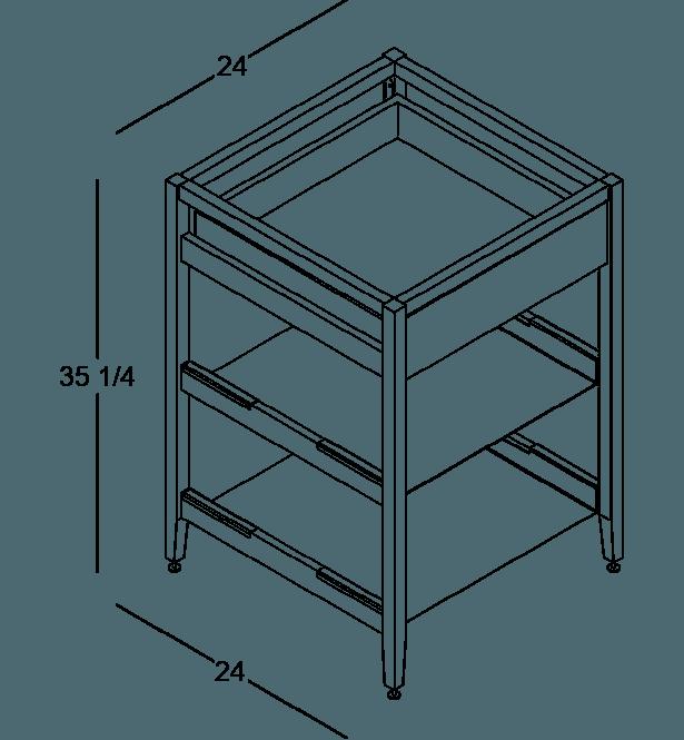 coquo radix white oak solid wood modular 2 shelves 1 drawer base kitchen cabinet 24 inch C1-C-24SB-1023-NA