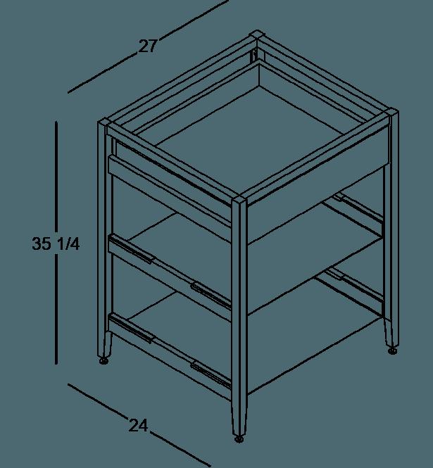 coquo radix white oak solid wood modular 2 shelves 1 drawer base kitchen cabinet 27 inch C1-C-27SB-1022-NA