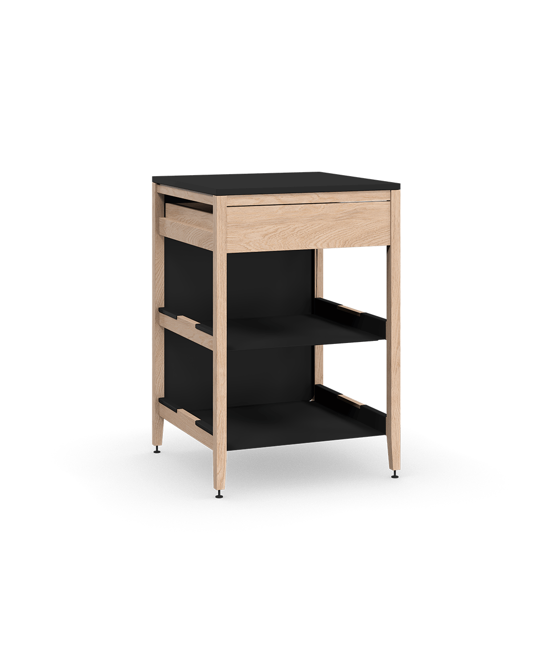 coquo radix white oak solid wood modular 2 shelves 1 drawer base kitchen cabinet 27 inch C1-C-27TB-1022-NA