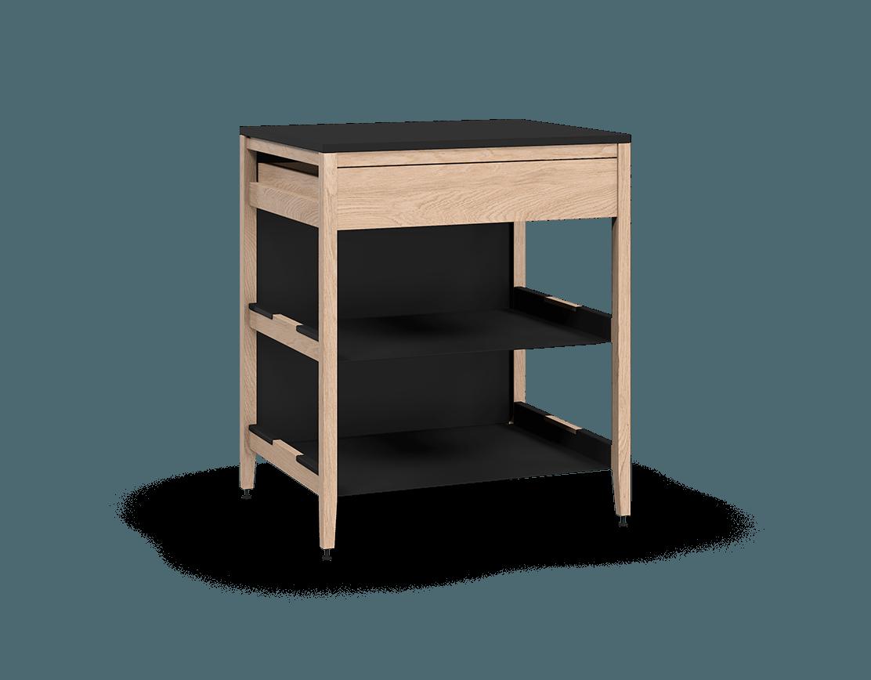 coquo radix white oak solid wood modular 2 shelves 1 drawer base kitchen cabinet 30 inch C1-C-30TB-1022-NA