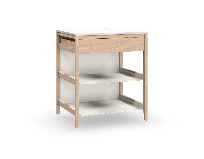 coquo radix white oak solid wood modular 2 shelves 1 drawer base kitchen cabinet 30 inch C1-C-30TB-1023-NA