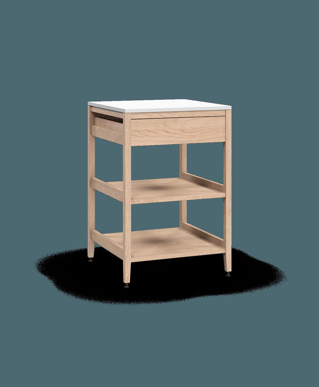 coquo radix white oak solid wood modular 2 wood shelves 1 drawer base kitchen cabinet 24 inch C1-C-24SBW-102W1-NA