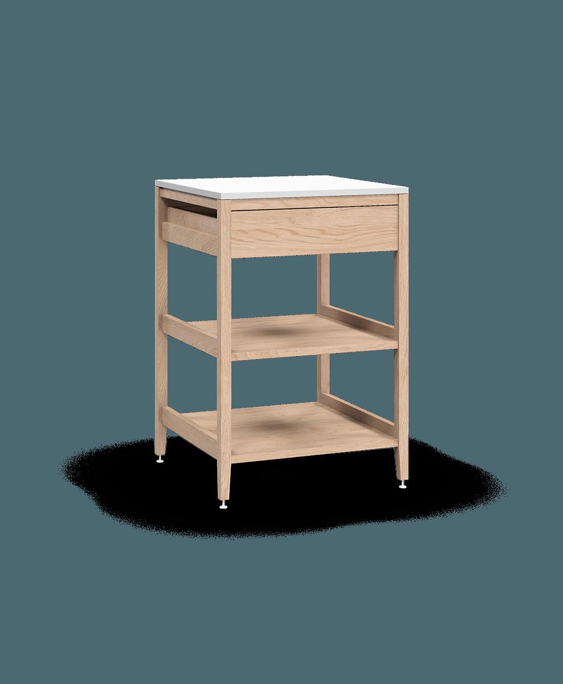 coquo radix white oak solid wood modular 2 wood shelves 1 drawer base kitchen cabinet 24 inch C1-C-24SBW-102W3-NA