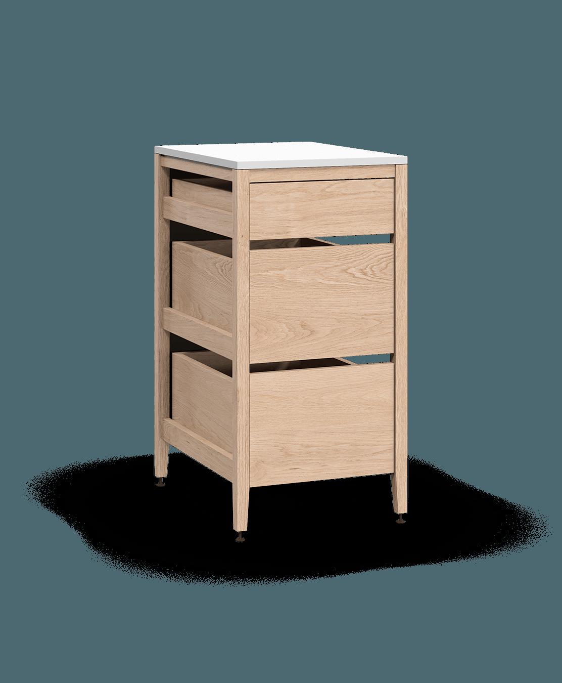 coquo radix white oak solid wood modular 3 drawers base kitchen cabinet 18 inch C1-C-18TB-3001-NA