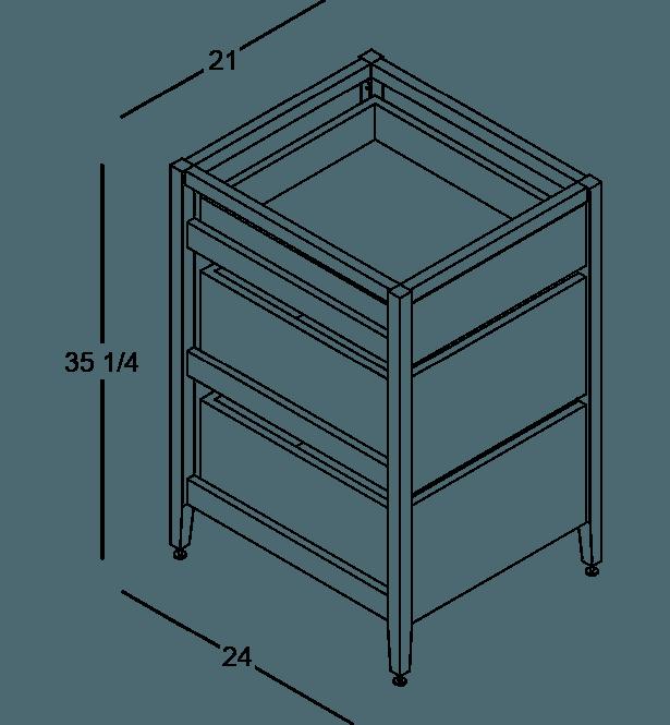 coquo radix white oak solid wood modular 3 drawers base kitchen cabinet 21 inch C1-C-21TB-3002-NA