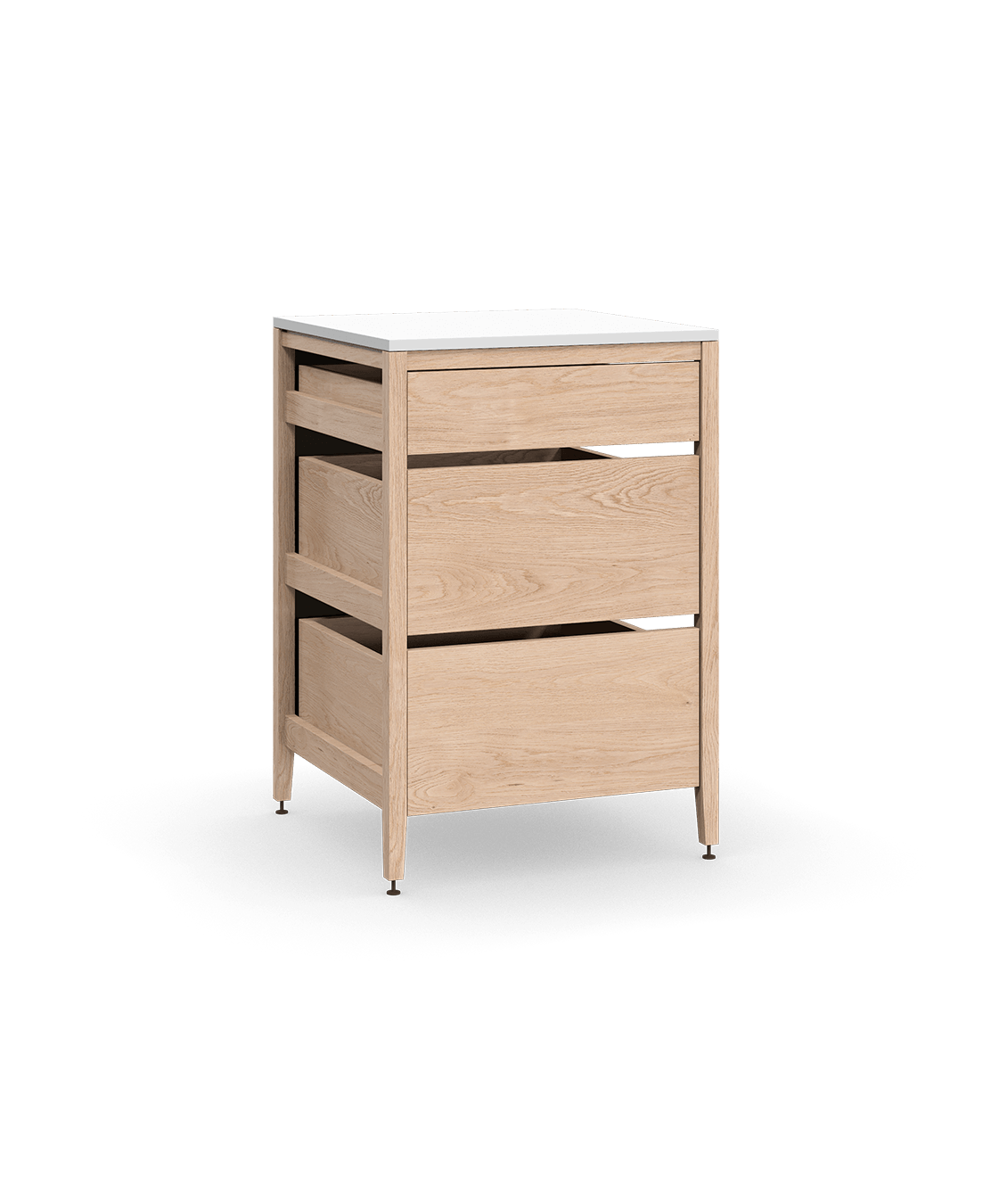 coquo radix white oak solid wood modular 3 drawers base kitchen cabinet 24 inch C1-C-24TB-3001-NA