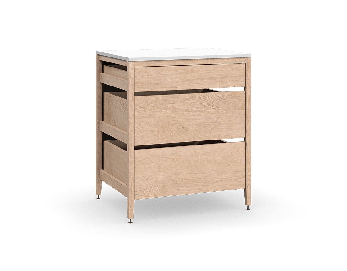 coquo radix white oak solid wood modular 3 drawers base kitchen cabinet 30 inch C1-C-30TB-3001-NA
