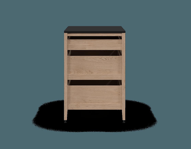 Radix Base Kitchen Cabinet 3 Drawers 30 In White Oak/Black ...