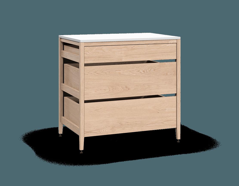 coquo radix white oak solid wood modular 3 drawers base kitchen cabinet 36 inch C1-C-36TB-3001-NA