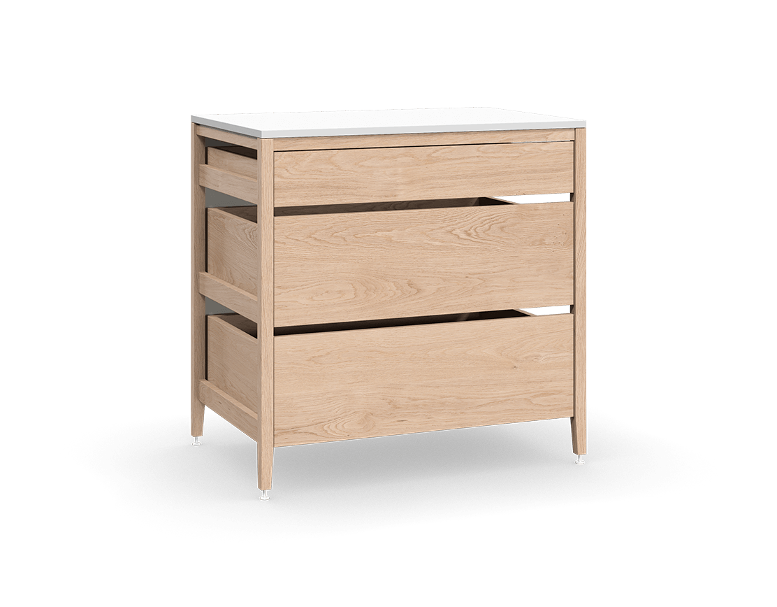coquo radix white oak solid wood modular 3 drawers base kitchen cabinet 36 inch C1-C-36TB-3003-NA
