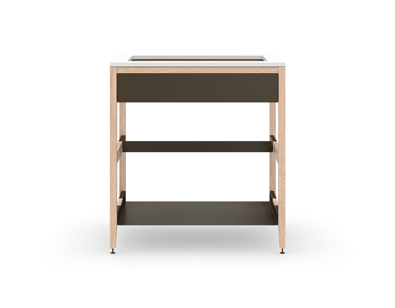 coquo radix white oak solid wood modular false front 1 half shelf sink base kitchen cabinet 33 inch C1-CSK-33SB-0031-NA