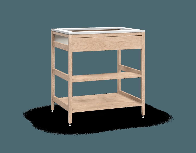 coquo radix white oak solid wood modular false front 1 wood half shelf sink base kitchen cabinet 33 inch C1-CSK-33SBW-003W3-NA