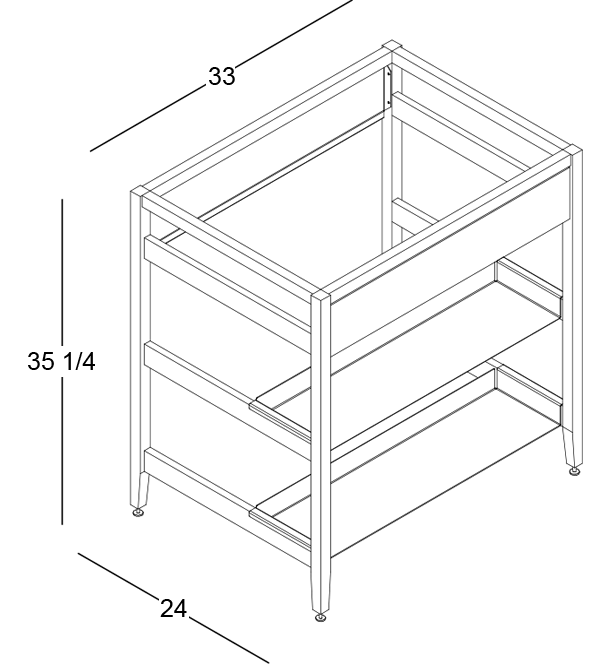 coquo radix white oak solid wood modular false front 2 half shelves sink base kitchen cabinet 33 inch C1-CSK-33SB-0041-NA