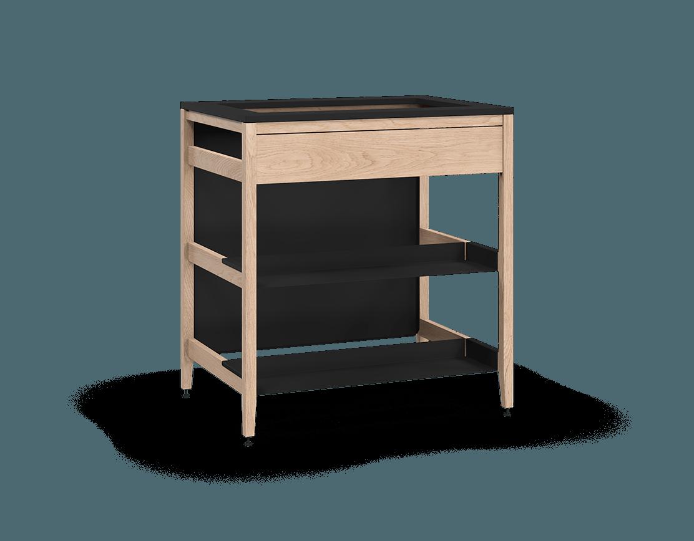 coquo radix white oak solid wood modular false front 2 half shelves sink base kitchen cabinet 33 inch C1-CSK-33TB-0042-NA