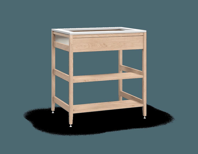 coquo radix white oak solid wood modular false front 2 wood half shelves sink base kitchen cabinet 33 inch C1-CSK-33SBW-004W3-NA