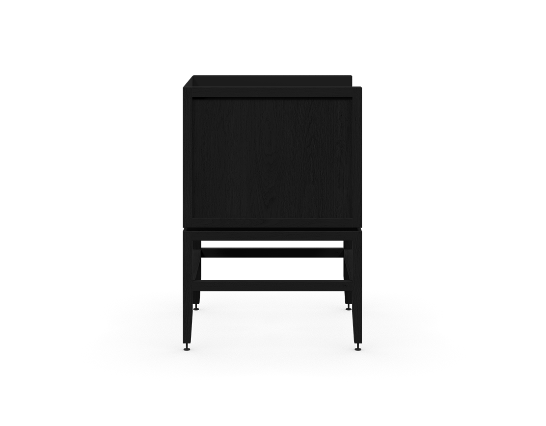 coquo volitare midnight black stained oak solid wood modular 1 bin 1 drawer storage coffee bar station cabinet 24 inch C2-C-2418-1012-BK