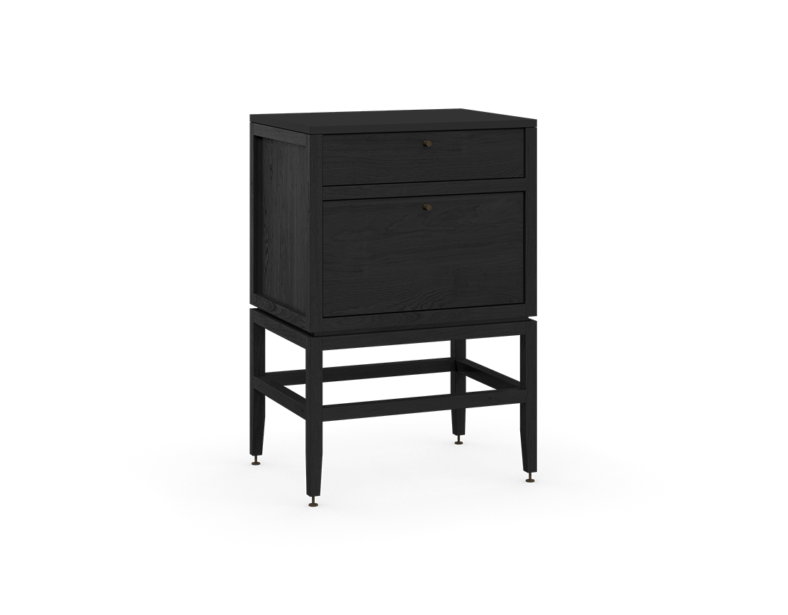 coquo volitare midnight black stained oak solid wood modular 2 drawers storage base cabinet 24 inch C2-C-2418-2001-BK