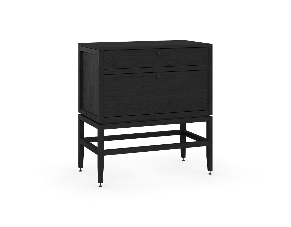 coquo volitare midnight black stained oak solid wood modular 2 drawers storage base cabinet 33 inch C2-C-3318-2001-BK