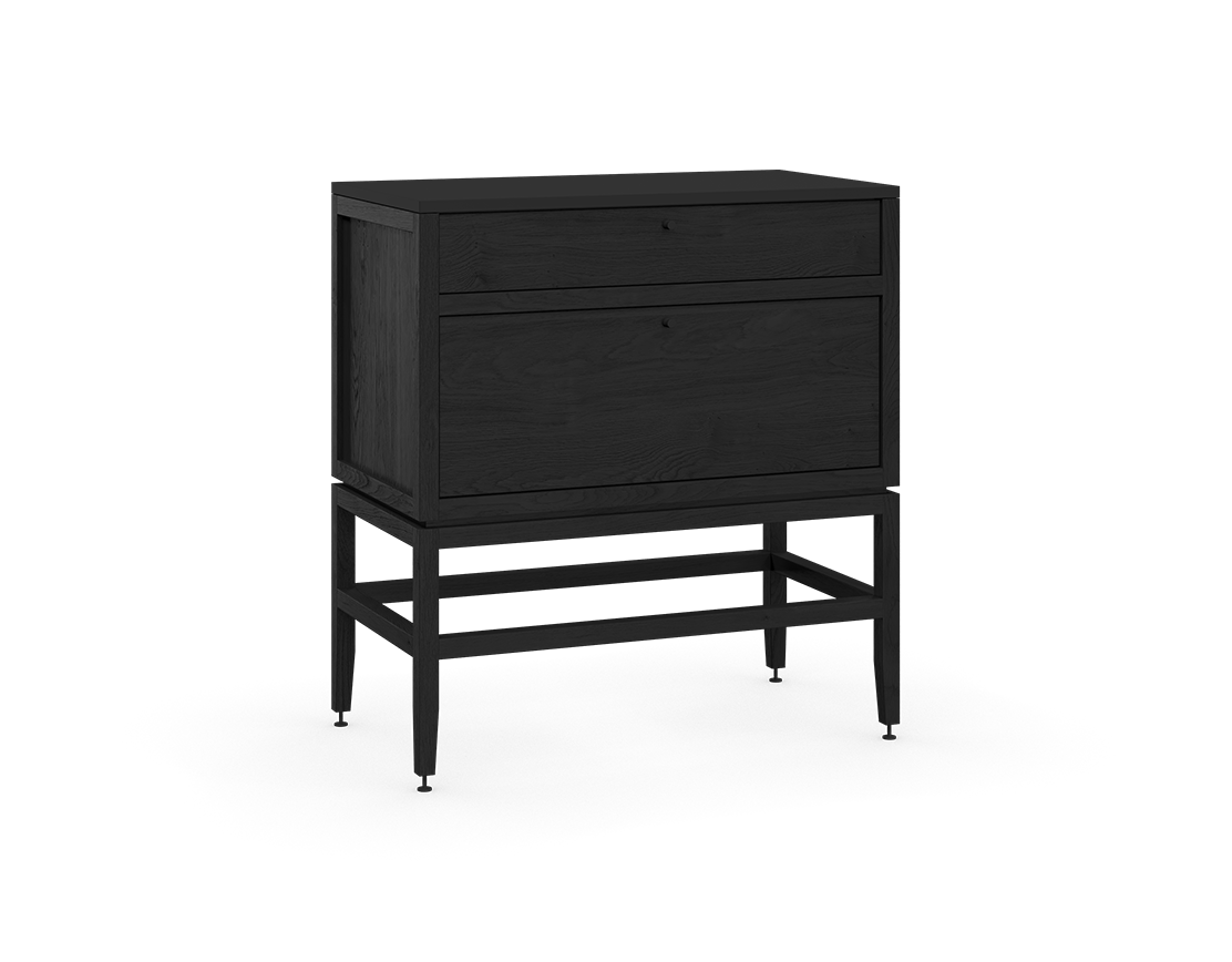 coquo volitare midnight black stained oak solid wood modular 2 drawers storage base cabinet 33 inch C2-C-3318-2002-BK