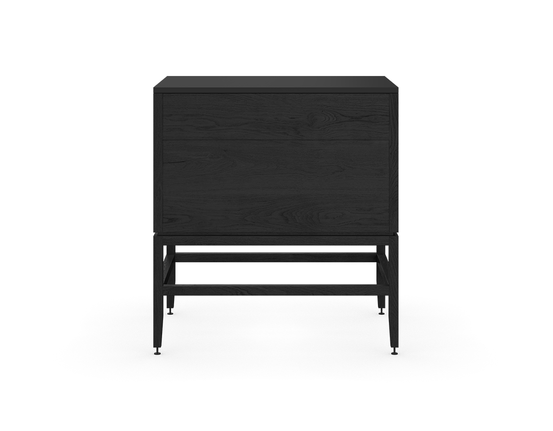 coquo volitare midnight black stained oak solid wood modular 2 drawers storage base cabinet 33 inch C2-C-3324-2002-BK