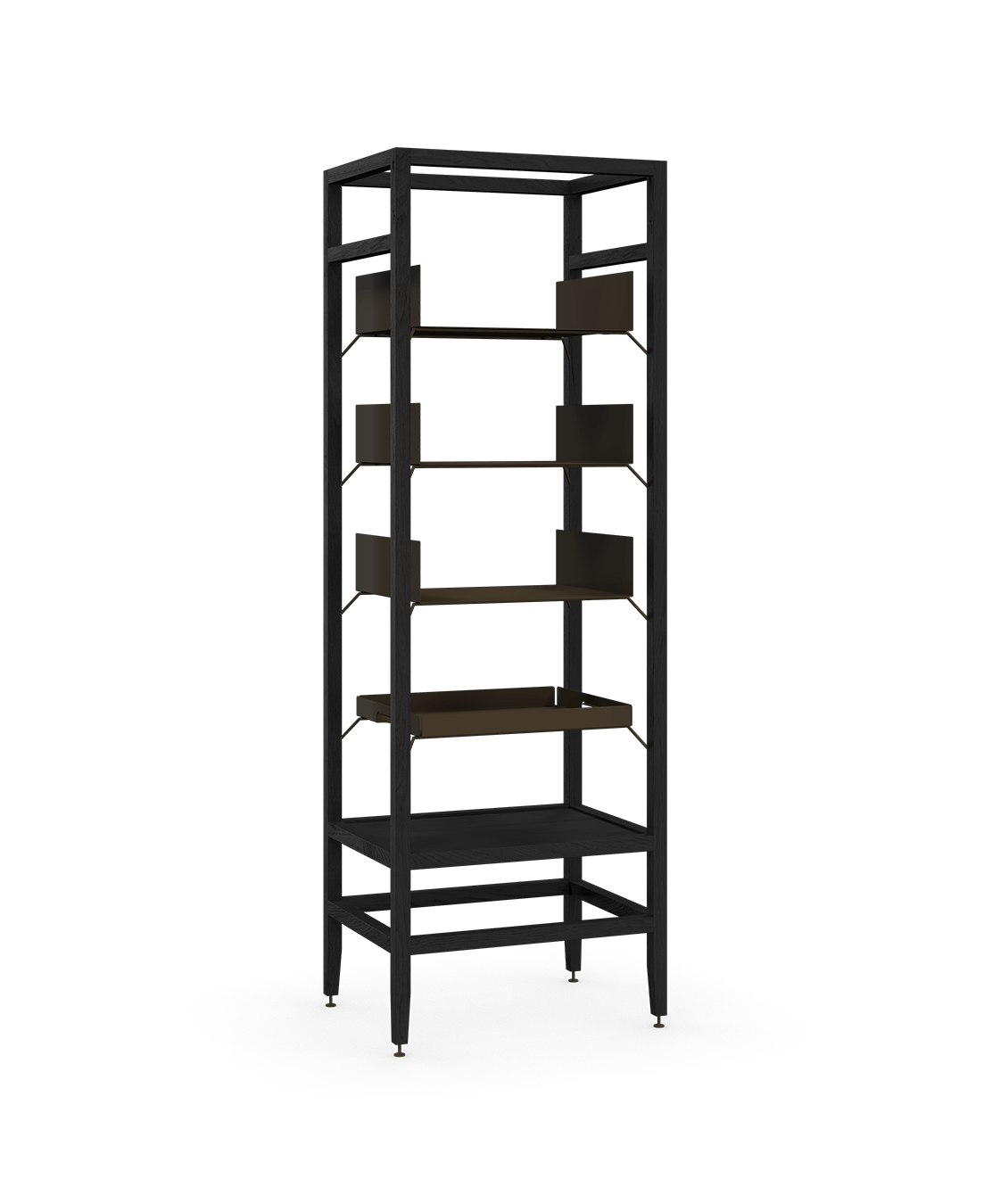 coquo volitare midnight black stained oak solid wood modular 3 shelves 1 removable tray storage tall bookcase shelving unit 24 inch C2-S-2418-0001-BK